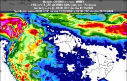 Inmet prevê chuva no país até 20 de outubro