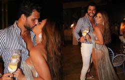 Após crise, Nicole Bahls e Marcelo Bimbi comemoram o réveillon aos beijos