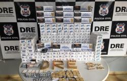 Polícia Civil apreende centenas de munições, medicamentos abortivos e cigarros contrabandeados