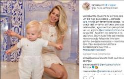 Filho de Karina Bacchi é batizado em São Paulo e encanta com macaquinho de linho bordado