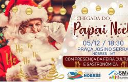 Abertura do Natal com chegada do Papai Noel em Nobres será nesta quarta-feira (5)