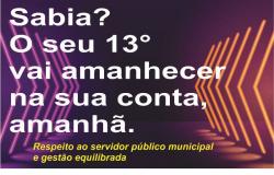 Prefeitura de Nobres anuncia antecipação do  13º