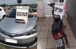 PM recupera Corolla e motocicleta em Cuiabá