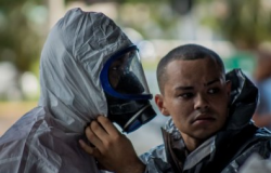Bombeiros realizam desinfecção na Rodoviária de Cuiabá