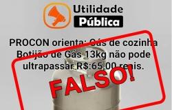 Procon alerta consumidores sobre >fake news> de preço do gás de cozinha