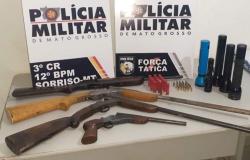 Três são presos com armas caçando animais silvestres em Sorriso
