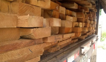 Carregamento de 32,049 m³ de madeira é apreendido no posto fiscal