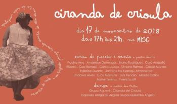 Ciranda de Crioula leva sarau, música e dança ao Misc