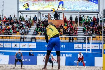 Evandro é ouro no vôlei de praia masculino dos 7º Jogos Mundiais Militares. - Pedro Ramos/Ministério da Cidadania
