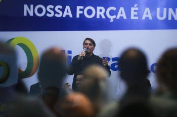 O presidente Jair Bolsonaro participa de evento do partido Aliança pelo Brasil - José Cruz/Agência Brasil