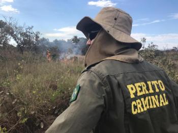 Perito Criminal em ação de combate a incêndio florestal - Foto por: Assessoria Politec-MT
