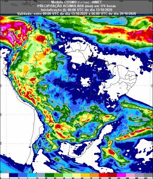 Figura 1: Previsão de chuva para 1ª semana. Fonte: Inmet