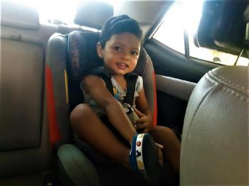 Transporte de criança em veículo                                Foto por: Charles Nogueira