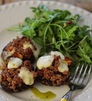 Cogumelos Recheados com Carne Picada