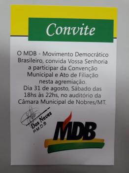 PMDB de Nobres realiza convenção municipal no dia 30