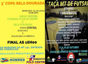Taça MT de Futsal e final da 3ª Copa Sela Dourada movimentam cenário esportivo em Nobres no final de semana