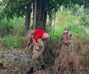 Idoso é  resgatado  por bombeiros em área de mata após  fugir de asilo