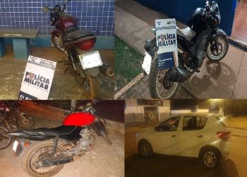 PM recupera três motocicletas e um carro suspeitos são detidos