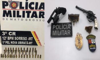 Homem ameaça ex-esposa e é preso com revólveres e 56 munições em Nova Ubiratã