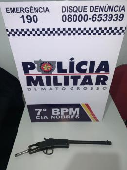 Homem é  preso  com arma de fogo  adaptada no bairro  Serragem
