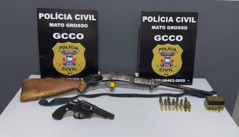 Polícia Civil apreende armas e drogas com fazendeiro em Rosário Oeste