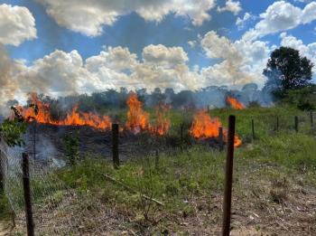 Bombeiros combatem incêndio em região de chácaras em Alta Floresta - MT