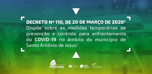 DECRETO Nº 110, DE 20 DE MARÇO DE 2020