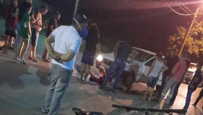Acidente entre carro e moto deixa duas vítimas  feridas  em Nobres